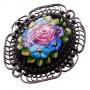 Брошь Ажурная цветы чёрная эмаль ростовская финифть 1230