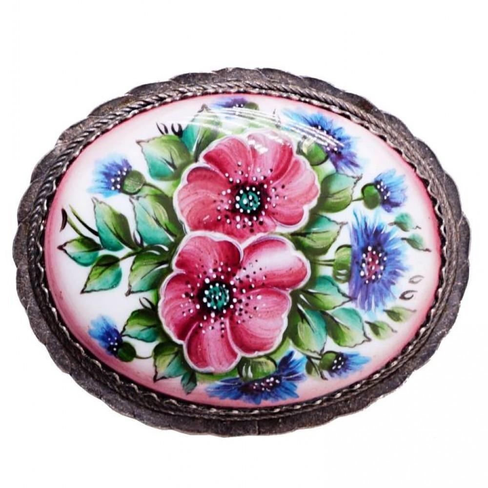 Брошь Цветы большая Ростовская Финифть 1252
