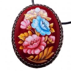 Брошь - Кулон ростовская финифть живопись Цветы большая