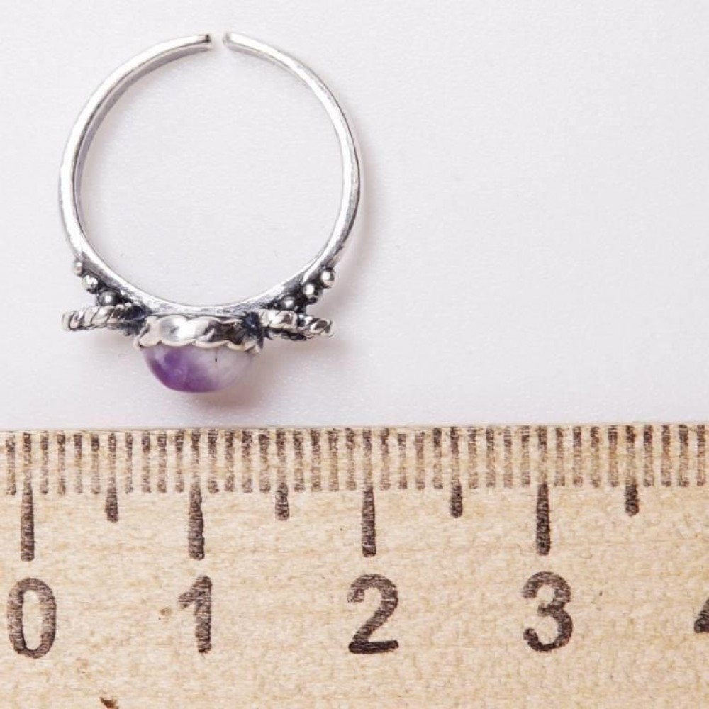 Кольцо аметист посеребрение безразмерное от 15 детское 3454