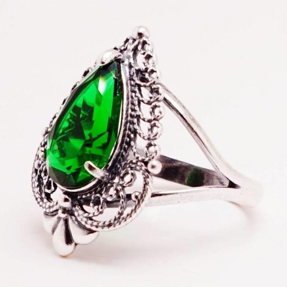 """Гарнитур Мерри"""" серьги кольцо ажурные изумруд посеребрение 1066"""