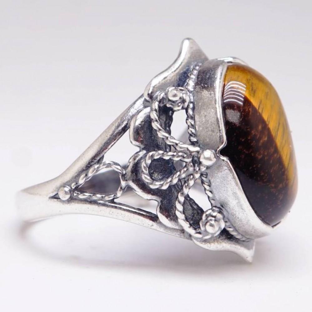 Кольцо Тигровый глаз посеребрение 1284