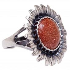 """Кольцо """"Подсолнух"""" авантюрин коричневый посеребрение 1346"""