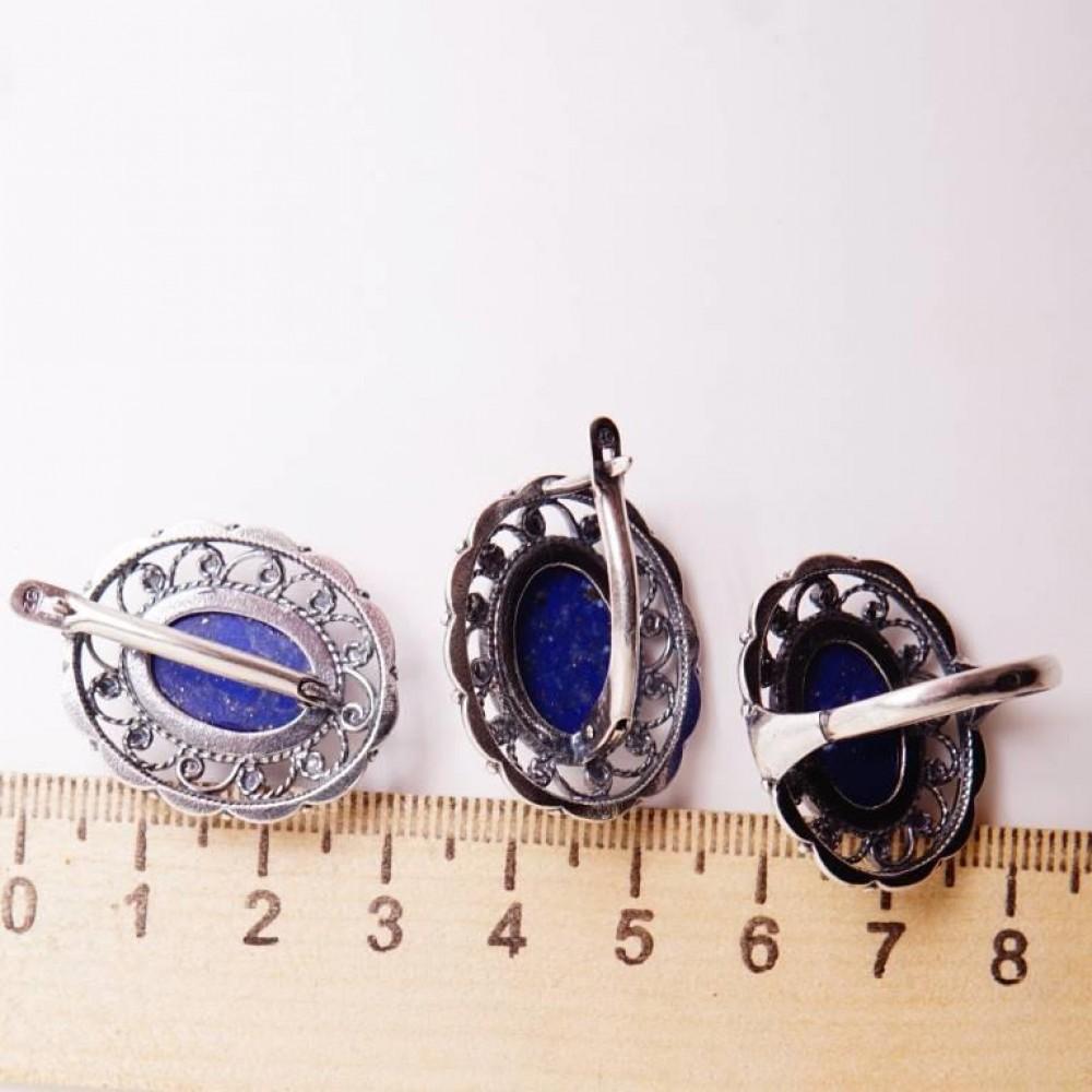 Кольцо Лазурит синий натуральный посеребрение 1509