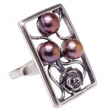 """Кольцо """"Витраж с розой"""" жемчуг коричневый посеребрение 1511"""