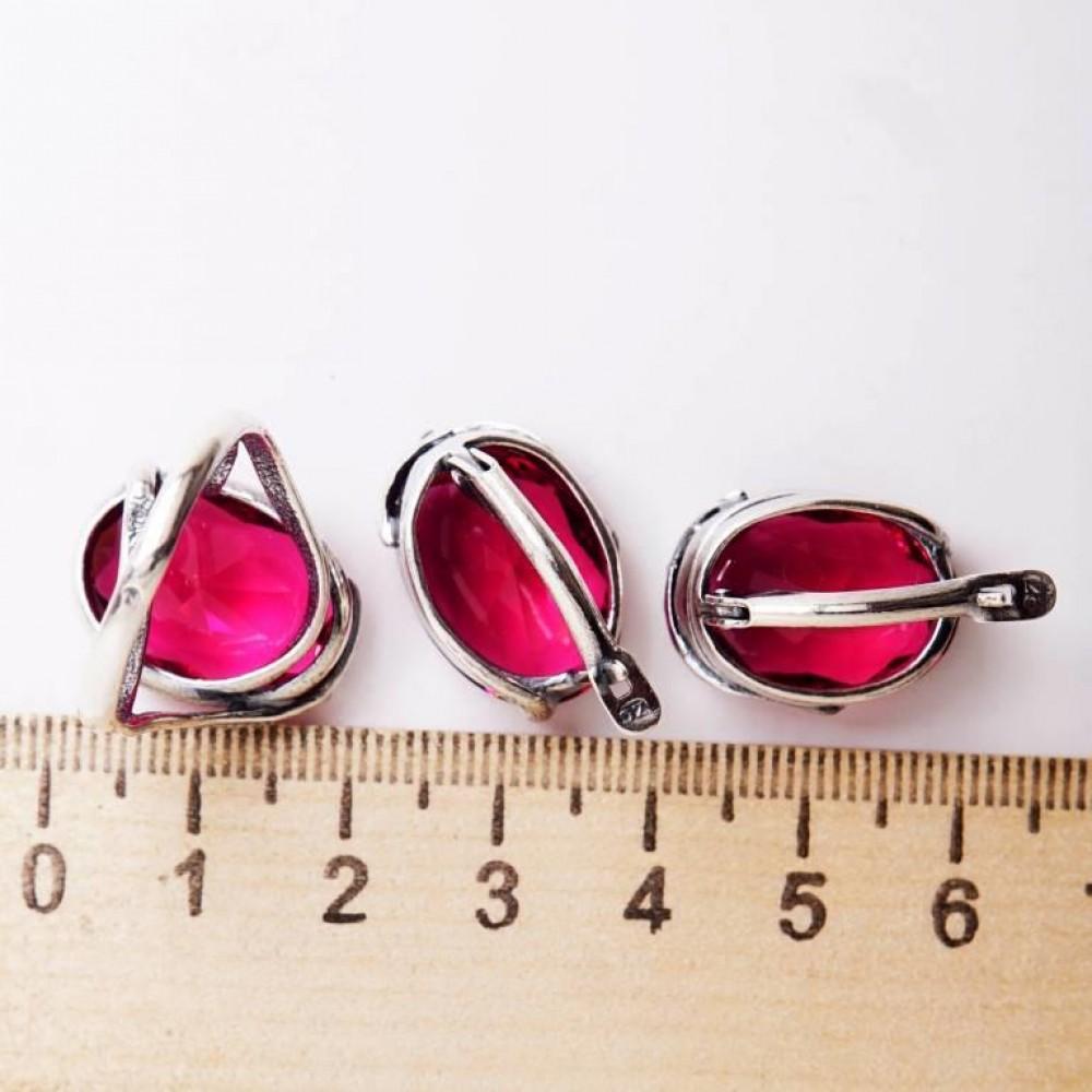 Кольцо Турмалин посеребрение рубин 1618