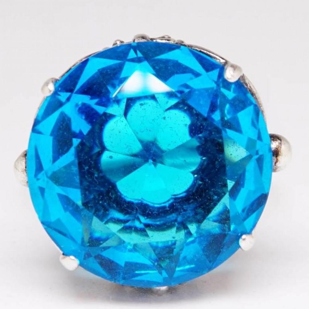 """Кольцо """"Альера"""" топаз голубой посеребрение 1662"""