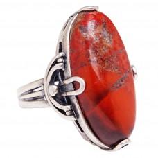 Кольцо яшма красная посеребрение 1688