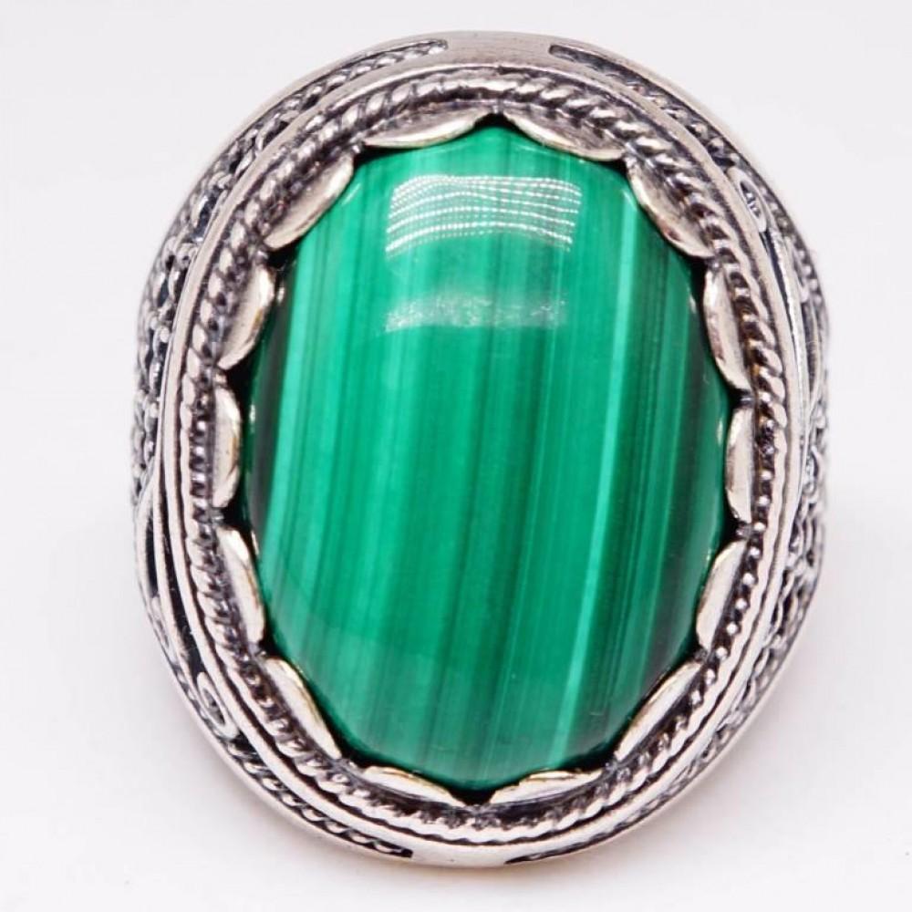 Кольцо малахит натуральный посеребрение 1692