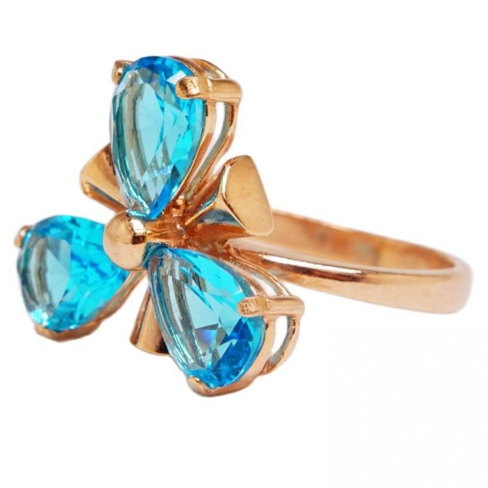 """Кольцо """"Анемона"""" позолота Топаз голубой 1877"""