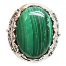 Кольцо Малахит натуральный посеребрение 2150