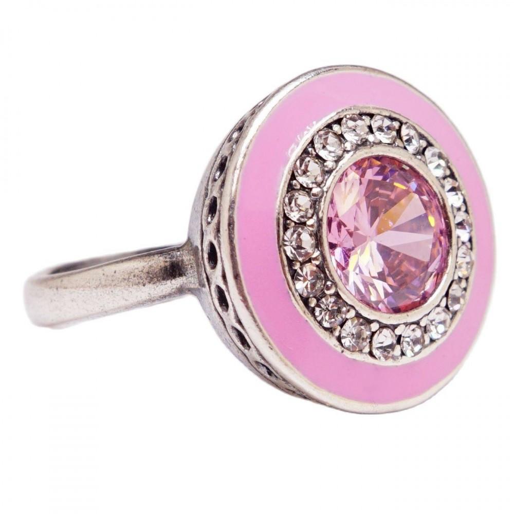 Кольцо розовые камни посеребрение 2278