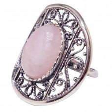 """Кольцо """"Греческий мотив"""" кварц розовый посеребрение 3184"""