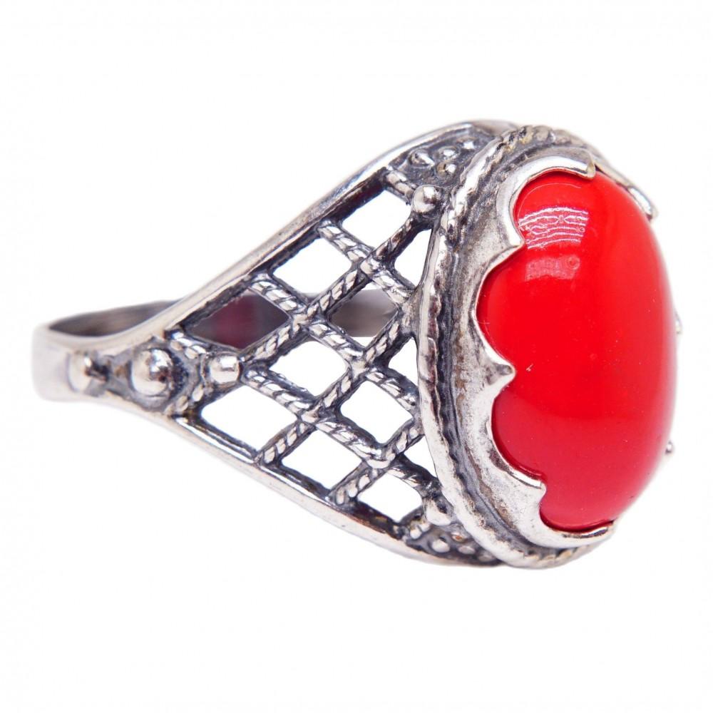 """Кольцо """"Добрияна"""" коралл красный посеребрение 3409"""