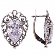 Серьги ажурные фианит бриллиант посеребрение 686