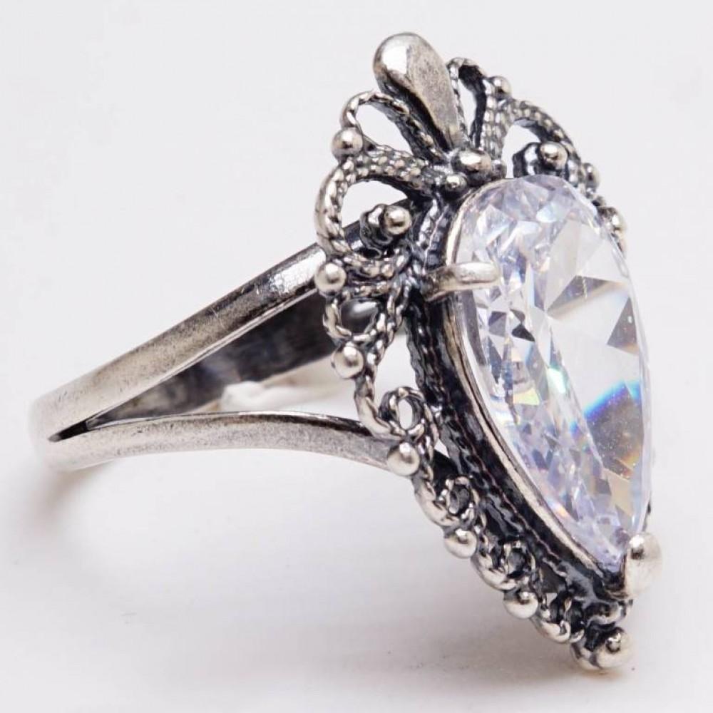 Кольцо ажурное фианит бриллиант посеребрение 686