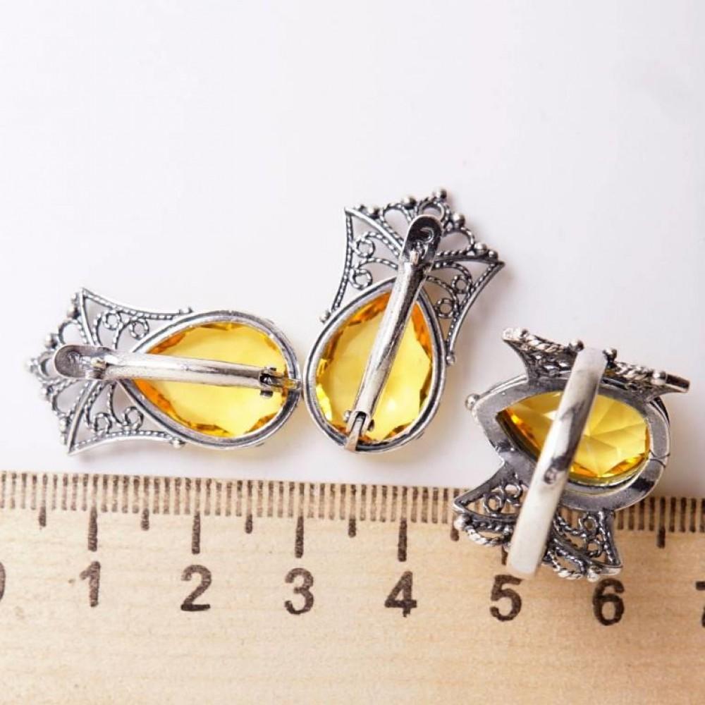 Кольцо ажурное Турмалин посеребрение 745