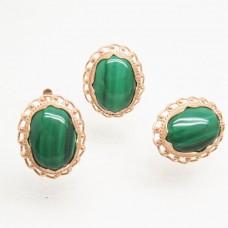 Гарнитур серьги и кольцо Малахит натуральный позолота 971