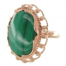 Кольцо Малахит натуральный позолота 971