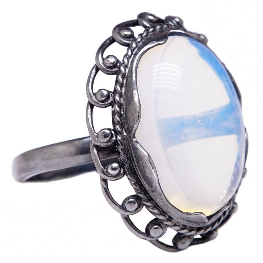 Гарнитур серьги  и кольцо Лунный камень посеребрение 971
