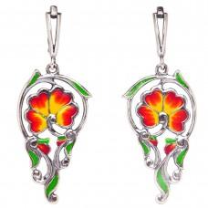"""Серьги """"Solar elegance"""" цветы эмаль красная посеребрение 2501"""