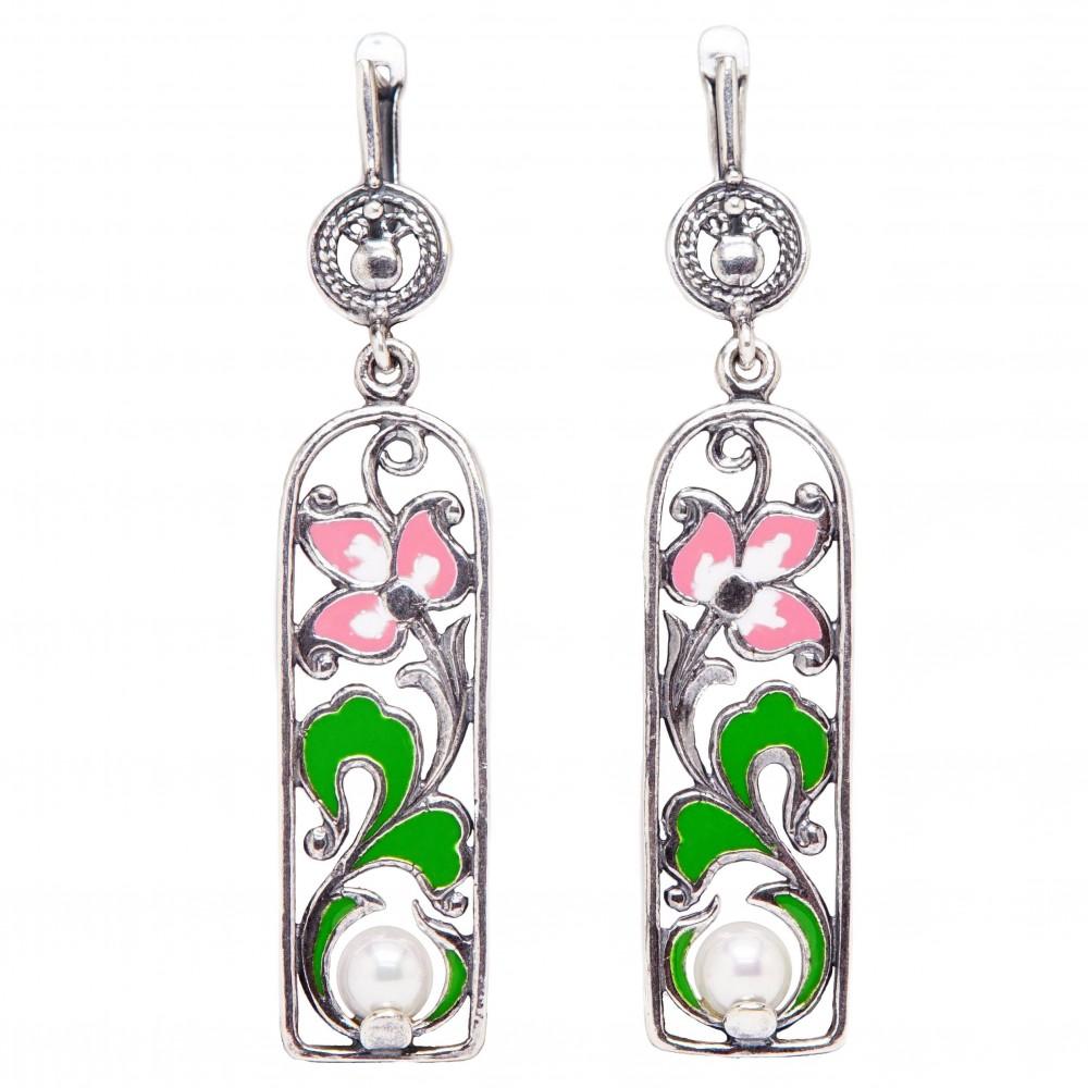 """Серьги """"Арнеб"""" цветы эмаль розовая посеребрение 2564"""