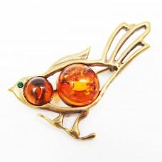Брошь Птичка с натуральным Янтарём в бронзе 157