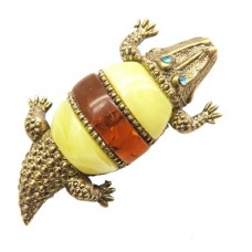 Брошь - кулон Крокодил янтарь микс бронза 1820