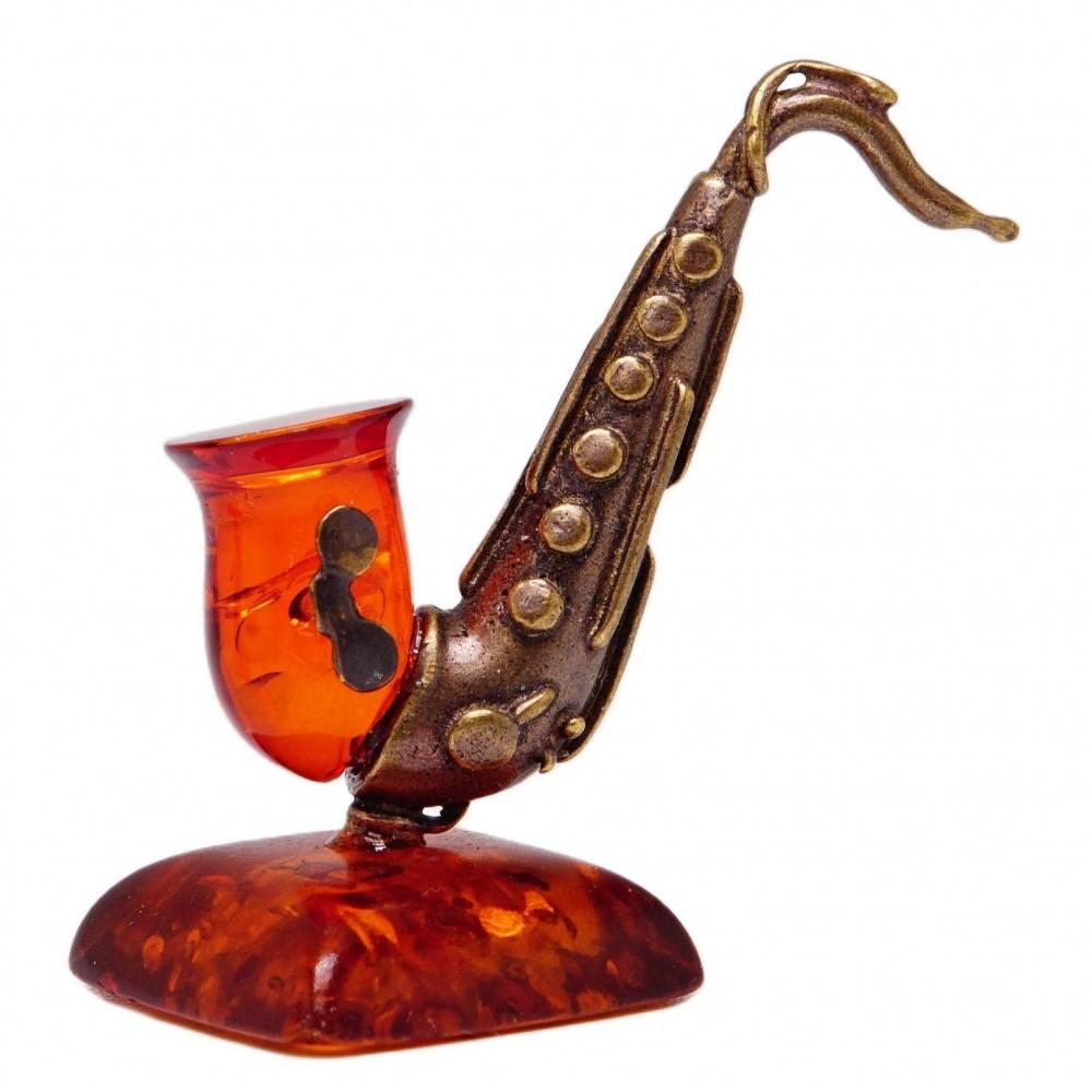 Саксофон фигурка Янтарь коричневый 1296