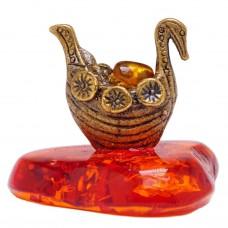 Фигурка Ладья с золотом (бронза янтарь) 1373