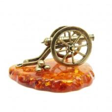 Фигурка на бодставке Пушка янтарь бронза 2164