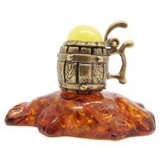 Фигурка Кружка пива на рыбе янтарь бронза 2225