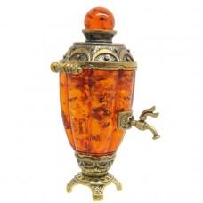 Фигурка Самовар Боярский янтарь тёмный бронза 2358
