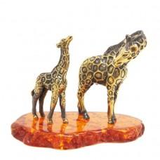 Фигурка Жираф нубийский с жирафенком янтарь бронза 2429