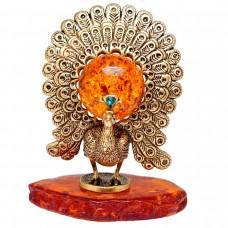 Фигурка Павлин большой янтарь коричневый 3119