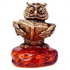 Фигурка Филин с книгой янтарь бронза 3216