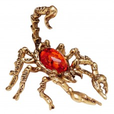 Фигурка Скорпион большой (янтарь коричневый, латунь) 3372