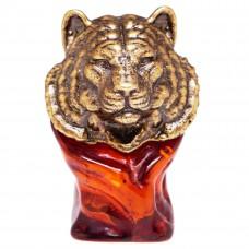Фигурка бюст Тигр (янтарь, бронза) 3428