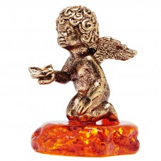 Фигурка Ангел с бабочкой янтарь бронза 396