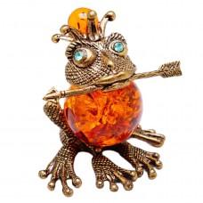 Фигурка Царевна Лягушка (латунь, янтарь коричневый) 401