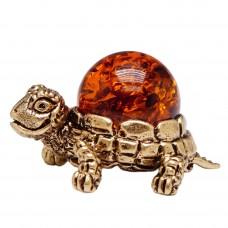 Фигурка  Черепаха янтарь в бронзе латунь 488