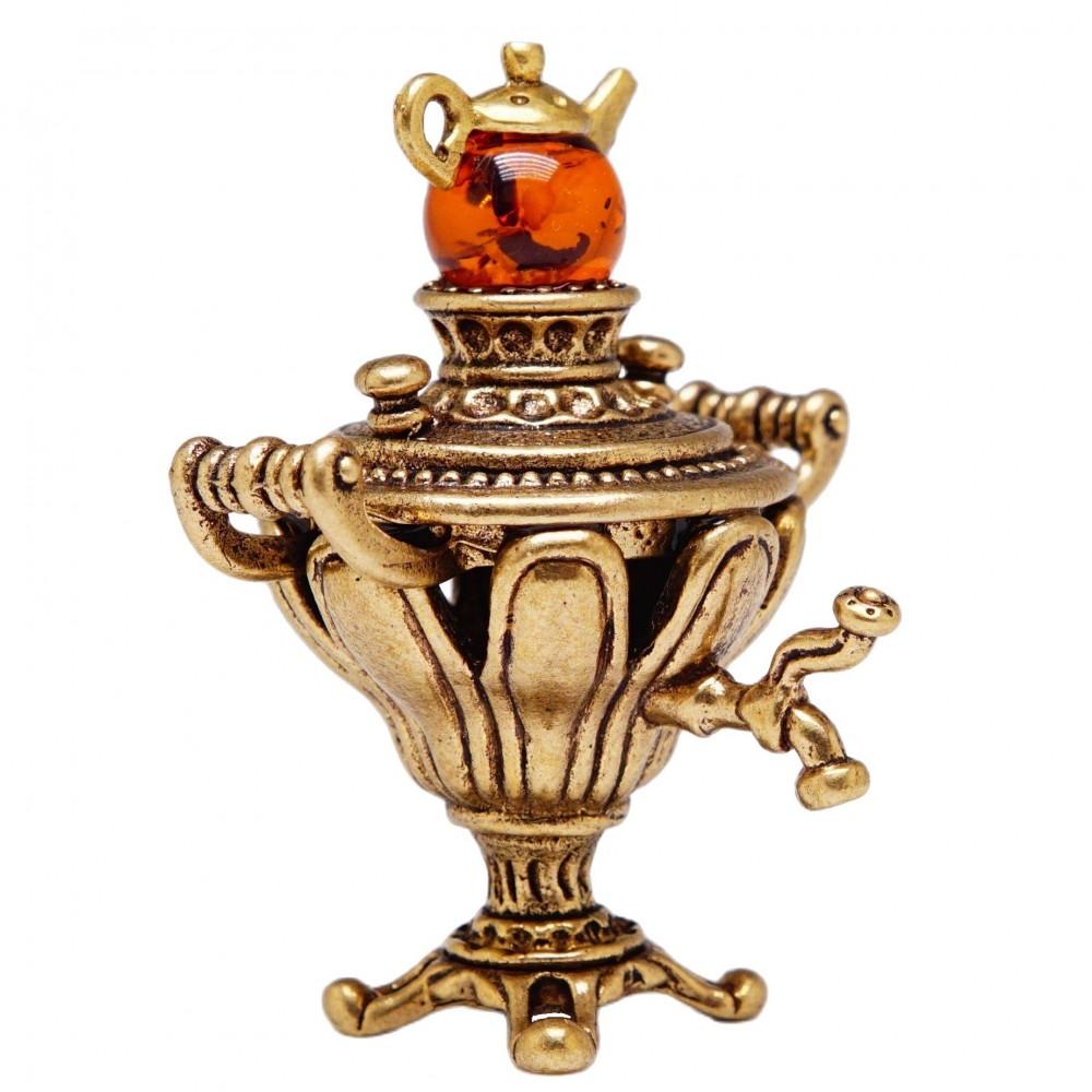 Фигурка Самовар Ажурный (янтарь, бронзирование) 558