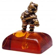 Фигурка миниатюрная Кот скрипач (янтарь лаькнь бронза) 590