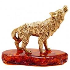 Фигурка Волк воет на подставке (янтарь, латунь) 63