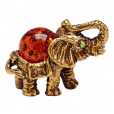 Фигурка Слон Индийский янтарь бронза 80
