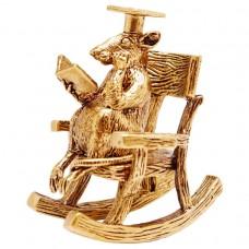 Фигурка Учёный Крыс в кресле качалке латунь 1853