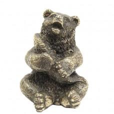 Фигурка Медведь с рыбой (латунь, бронза) 2126