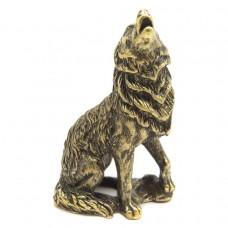 Фигурка Волк воет (латунь, бронза) 2448