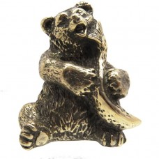 Фигурка Медведь с рыбой (латунь, бронза) 2456