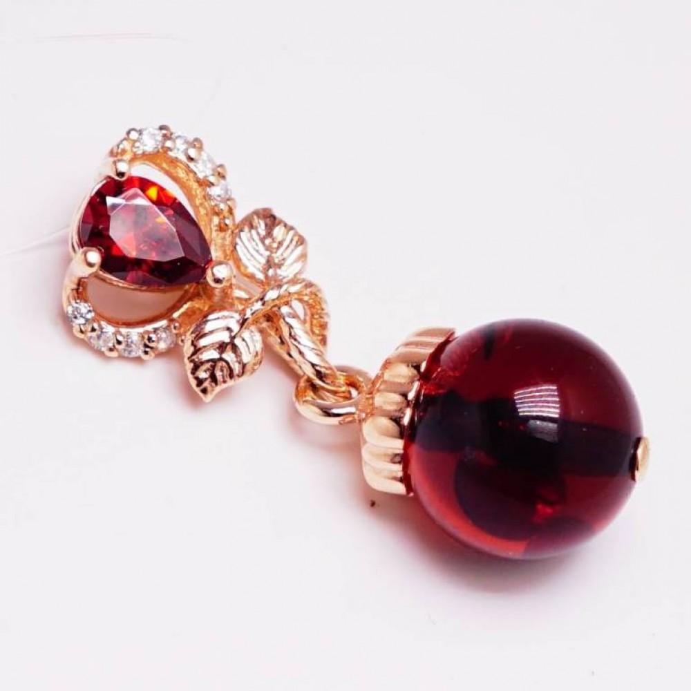 """Подвеска серебряная """"Алами"""" янтарь вишневый 925 Ag позолота 168"""